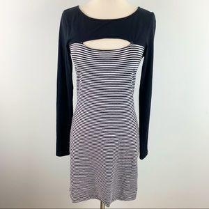 Guess Womens Long Sleeve Striped Knit Dress, Large